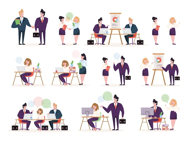 Business people character in office set. person in suit doing different activities. office presentation and finance operation.    illustration