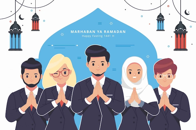 Business people character ramadan greeting background