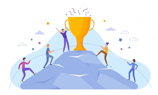 Business people characters climb to top peak award cup poster banner website illustration. leadership and teamwork, team leader already at top, motivate to success, award trophy, competitive