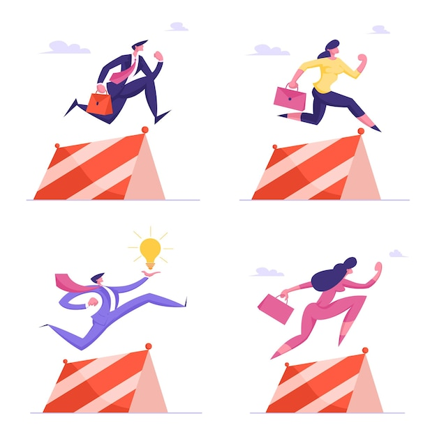 Business people characters holding briefcase and light bulb jump over obstacles