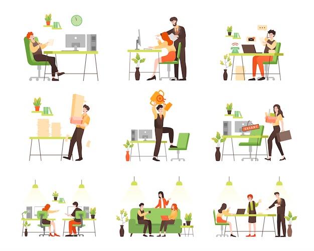 オフィスでのビジネス人々のキャラクター