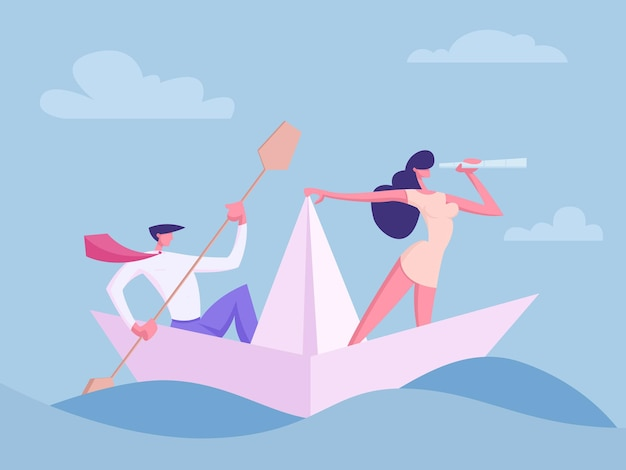 Business people characters on paper ship illustration
