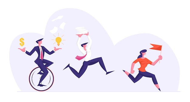 Business people characters running by row following businesswoman
