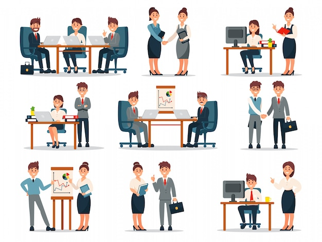 Business people characters at work set, male and female workers at workplace in office cartoon   illustrations