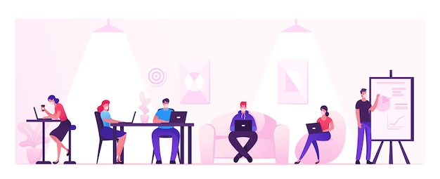 Business people characters working and relaxing in coworking area or creative office at covid19 quarantine. teamwork communication, digital technologies and crowdsourcing. cartoon vector illustration