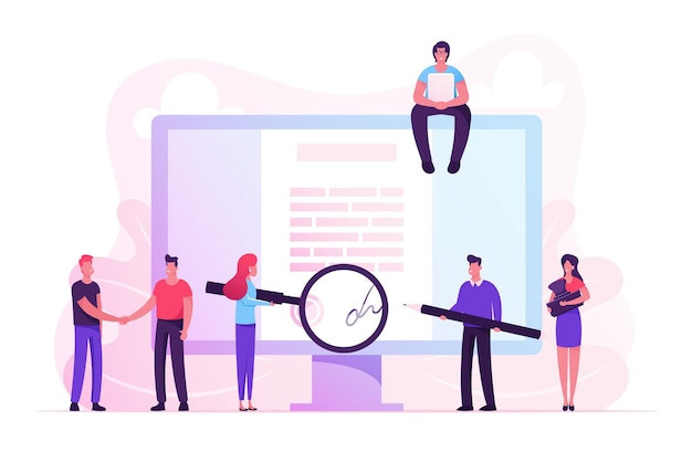 Business people checking and signing contract. cartoon flat illustration