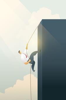 目標または達成のビジネス目標へのロープパスで崖を登るビジネス人々。