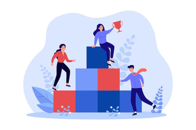 Деловые люди поднимаются по карьерной лестнице за наградой. бизнесмен персонаж, стоящий на подиуме, женщина-лидер, держащая приз наверху лестницы, плоская векторная иллюстрация. успех концепции корпоративной стратегии