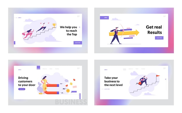 Business people climbing stairs to success banner template