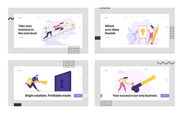 Business people climbing stairs to success concept landing page set