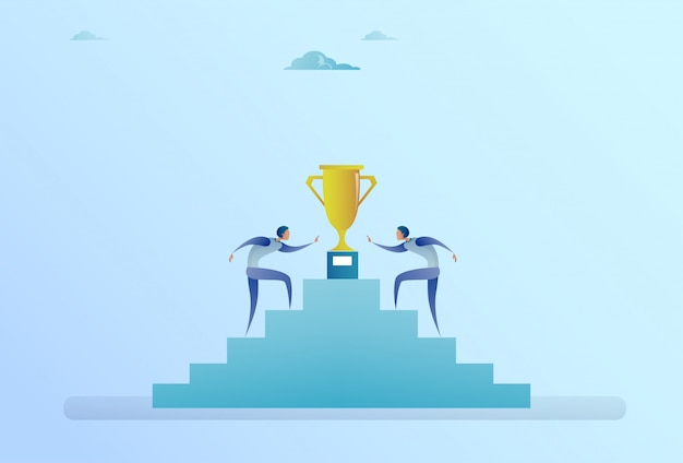 Business people climbing stairs up to golden cup winner success competition concept