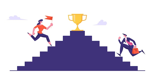 Business people climbing stairs with golden goblet on top