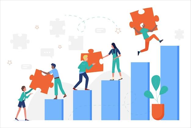 계단을 오르는 사업 사람들, 목표를 달성하기 위해 퍼즐 퍼즐 조각을 들고 프리미엄 벡터