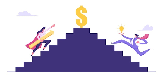 돈과 성공 일러스트에 위층을 등반하는 사업 사람들