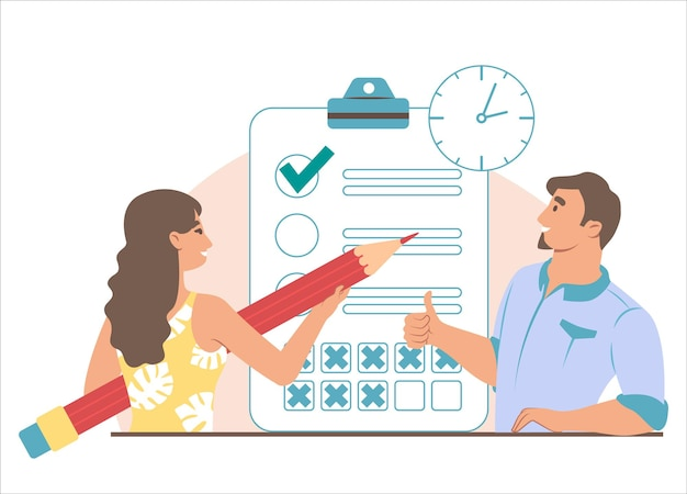 Business people, clipboard with checklist, clock. woman checking to do list, man showing ok hand sign, flat vector illustration. task management, planning, time management.