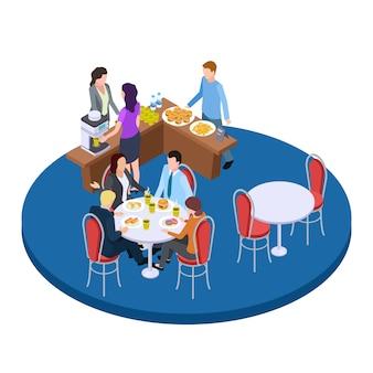Business people on a coffee break isometric  illustration