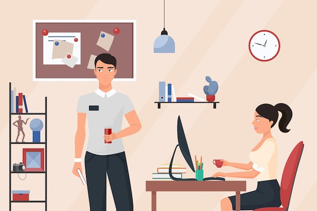 Business people on coffee break in office room interior woman and man talk and drink
