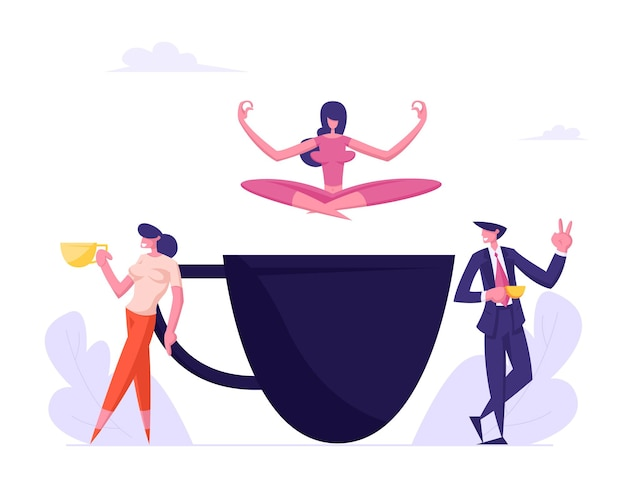Business people on coffee break young girl relaxing in yoga lotus posture