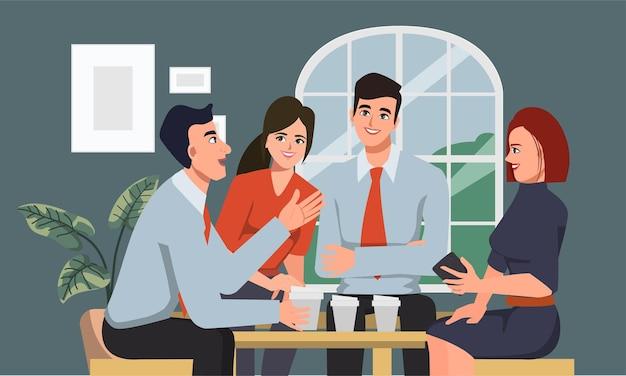 Коллективная работа коллеги деловых людей разговаривает в группе.