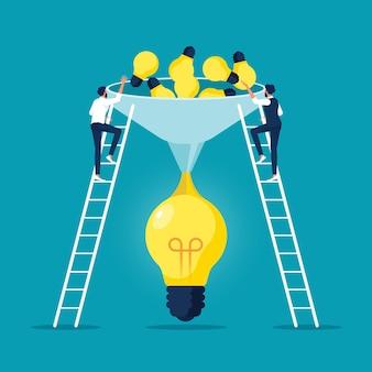 비즈니스 사람들은 아이디어와 생각을 결합하여 더 크고 더 나은 아이디어를 만듭니다.