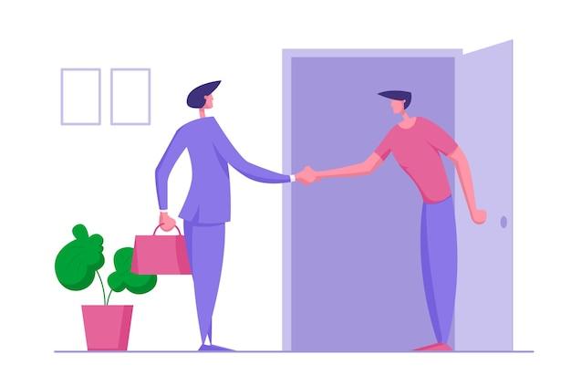 Концепция коммуникации деловых людей. бизнесмен, пожимая руку партнеру