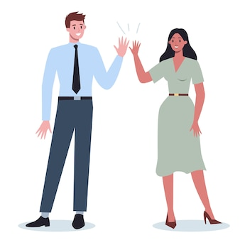 ビジネスマンのコミュニケーションのアイデア。ビジネスの男性と女性が一緒に働いて成功しています。ビジネスマンと女性のハイタッチ。