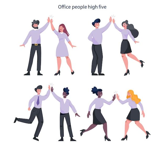 Набор идей общения деловых людей. деловой мужчина и женщина работают вместе и добиваются успеха. деловой мужчина и женщина дай пять.