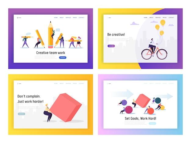 ビジネスピープルコンペティションコンセプトランディングページセット。仕事に自転車に乗るビジネスマン。キャラクターは重い形を動かします。キャリアウェブサイトまたはウェブページのリーダーシップ目標。フラット漫画ベクトルイラスト