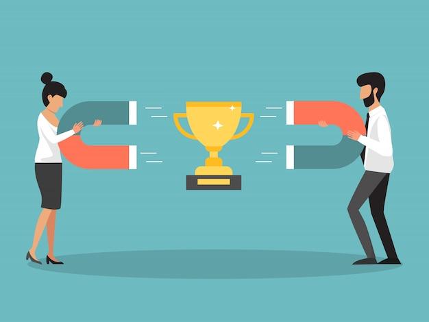 ビジネスの人々の競争、磁石で黄金の杯を集めている人