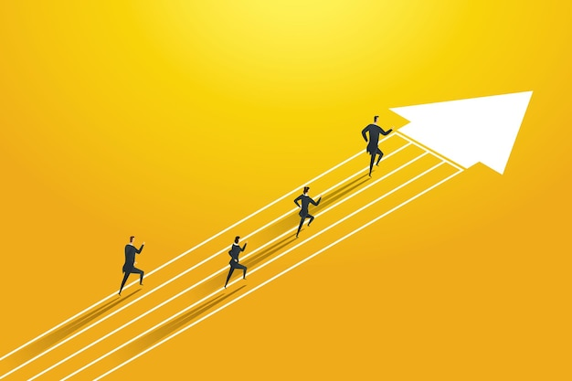 Business people competition run on the arrows to goal