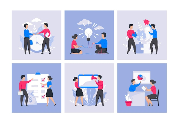 Business people concept. cartoon office characters, digital marketing and communication, leadership technology. vector collection illustrations project professional management trendy flat