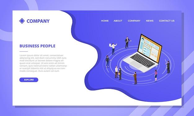 아이소메트릭 스타일 벡터가 있는 웹 사이트 템플릿 또는 방문 홈페이지에 대한 비즈니스 사람들 개념