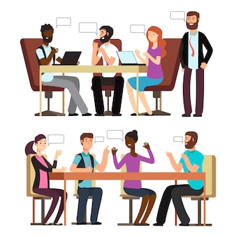 Business people conversation in business situations in office
