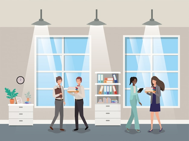 Business people in corridor office