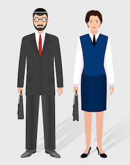 Business people . couple of jewish businessman and businesswoman standing together.