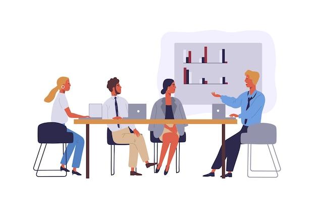 Деловые люди, коворкинг пространства плоские векторные иллюстрации. персонажи сотрудников в конференц-зале. конференция бизнесменов и деловых женщин изолированный клипарт. коллеги обсуждают корпоративный проект.