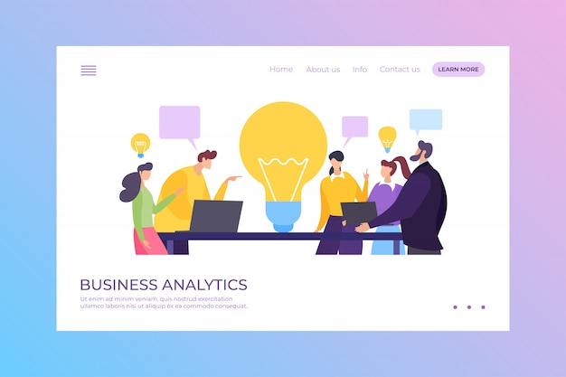 Business people create new idea at meeting landing  illustration. business analytics work, man woman character company