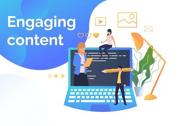 Business people creating engaging content
