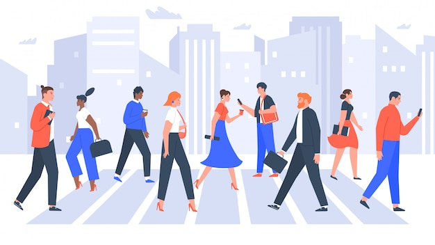 Business people cross road. people in city crosswalk, office workers walking on crowded. businessman and businesswoman crosswalk  illustration
