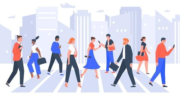 Деловые люди переходят дорогу. люди в городском пешеходном переходе, офисные работники гуляют по многолюдным. иллюстрация пешеходного перехода бизнесмена и коммерсантки