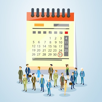 Business people crowd over calendar page flat