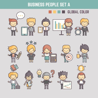 Business people cute character set