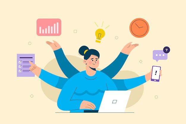 Деловые люди, имеющие дело с новой идеей многозадачности. работает на ноутбуке. концепция бизнес-целей, успеха, удовлетворительного достижения.