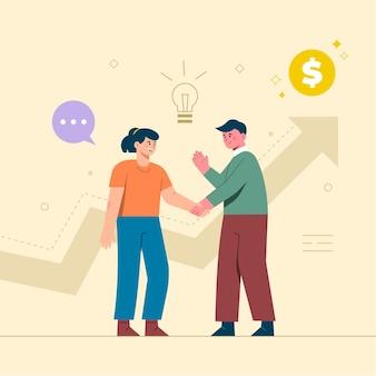 새로운 아이디어를 다루는 사업 사람들. 세로 막 대형 차트에 서십시오. 비즈니스 목표, 성공, 만족스러운 성취의 개념.