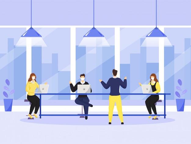 コロナウイルスを避けるために社会的距離を維持しながら職場で互いに話し合うビジネス人々。