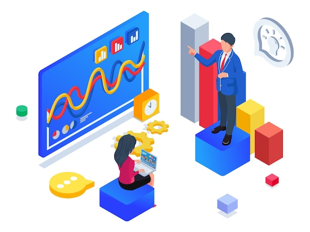 Business people doing business report consulting. isometric business startup illustration.
