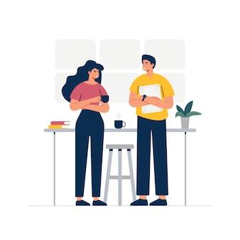 사무실 활동을하는 사업 사람들. 차를 마시고 서로 논의합니다. 만화 스타일의 그림입니다.