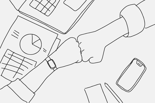 Business people doodle vector doing a fist bump