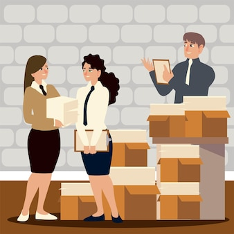 Business people employees with many boxes full of papers