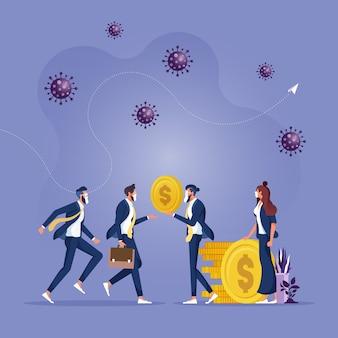 ビジネスマンの起業家マネージャーは政府からお金を受け取り、従業員に給与を与えますウイルス病原体政府は給与を支払うのを助けます